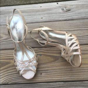 Gianni Bini Light Golden Taupe ankle strap heels